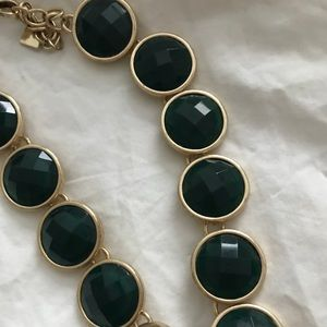 Emerald green and gold necklace